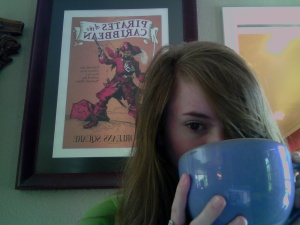 Big cup!! and Pirates of the Caribbean poster! Its good to be home! somethings missing though... a certian boy with a matching cup maybe?