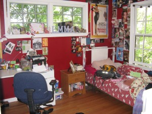 My room!! This is where I spend most of my time and I've already made a mess!