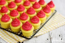 Lemon Baby Cakes with Fresh Raspberry Buttercream